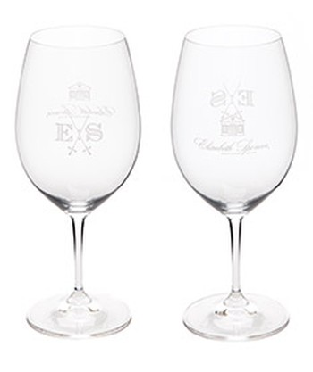 Set of 2 Etched Cabernet Glasses