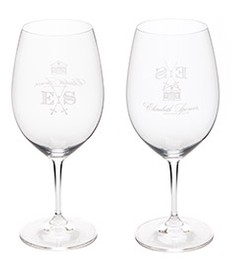 Etched Cabernet Sauvigon Glass